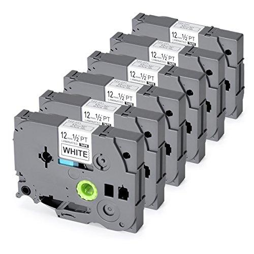 Replace TZe231 TZ P-Touch Label Tape Standard Laminated Label Tapes TZe-231 TZ231 TZ-231 Compatible for Brother P Touch PT-H100 PT-D210 PT-H110 PT-D400AD PT-D600 1/2-Inch x 26.2Feet (12mm x 8m) 6-Pack