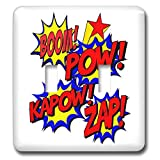 3dRose AmansMall Funny Quotes - Boom, Pow, Kapow, Zap, Superhero Comic Strip Words, 3drsmm - Light Switch Covers - double toggle switch (lsp_291777_2)