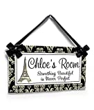 Personalized Door Signs Eiffel Tower Door Sign - Kids Girls and Teens Paris French Decor, Black and Ivory Damask