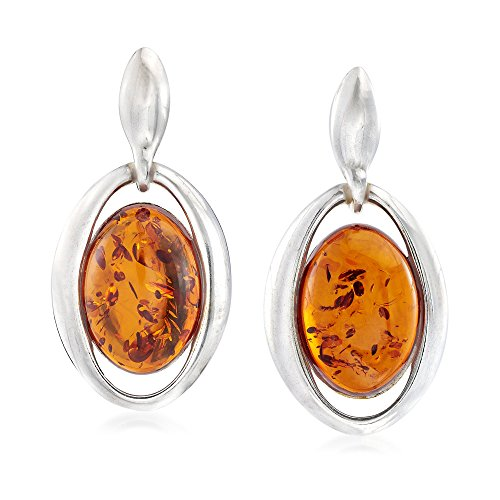 Ross-Simons Oval Amber Open-Frame Drop Earrings in Sterling Silver (Sterling Silver Amber Cabochon Earrings)