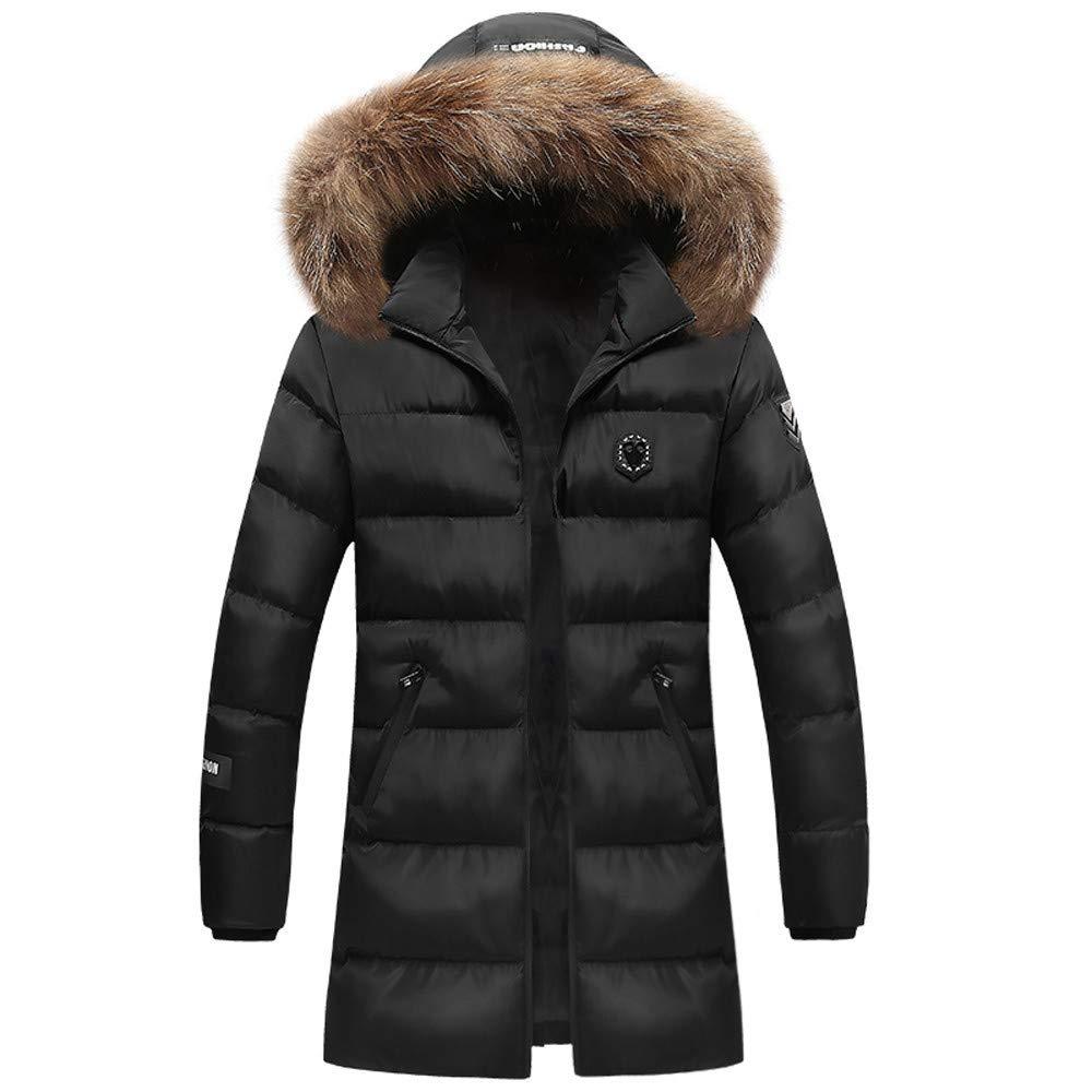 Mens Down Coats,Fashion Mid Down Jacket Faux Fur Hooded Puffer Coat Slim Fit Trend Coat Parka Zulmaliu (Black,L)