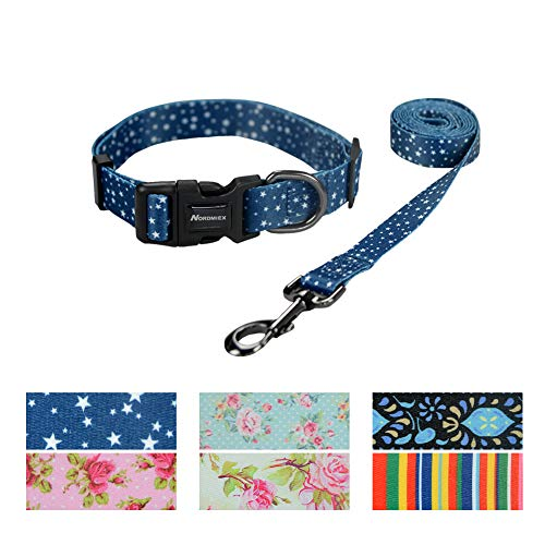 Nordmiex Pet Collar & Leash Set - Adjustable Pet Collar with Matching Leash, Exquisite Printing Dog Collar & Leash Combo with Star Pattern for Cat and Small Anmial,Navy Blue-M (Best Collars For Poodles)