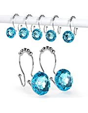 Goowin Shower Curtain Hooks, 12 Pcs Crystal Shower Curtain Rings, Stainless Steel Rust Proof Double Shower Hooks for Curtains, Shower Curtain & Liner Decor