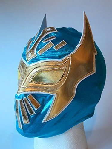 ASHLEYS Wrestling MASK SIN CARA WWE Fancy Dress UP Costume Mexican Childrens Kids Child Outfit Suit Blue -