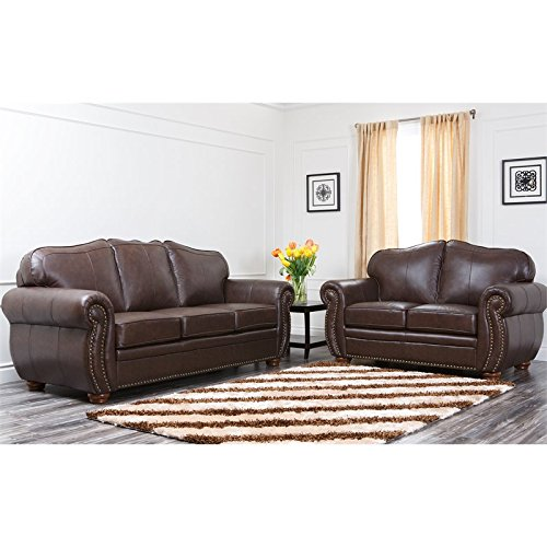 Abbyson Living Berkely CI D320 BRN 3 2 2 Piece Living Room Set With Leather