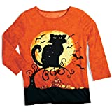 Women's Halloween Shirt With Black Cat & Sequins