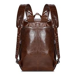 Kattee Genuine Leather Business Backpack Travel School Bag Fit 15''Laptop (Brown)