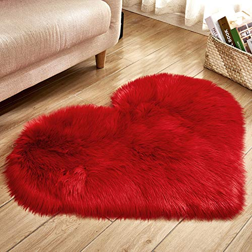 (Ocamo 40X50CM Love Heart Shaped Rug Artificial Wool Sheepskin Hairy Carpet Faux Floor Mat Fluffy Soft Area Rug Home Decoration red)