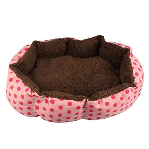 (Pet Dog Fleece Warm Bed,Tuscom@ Puppy Cat House Plush Nest (36X30CM) (Pink))