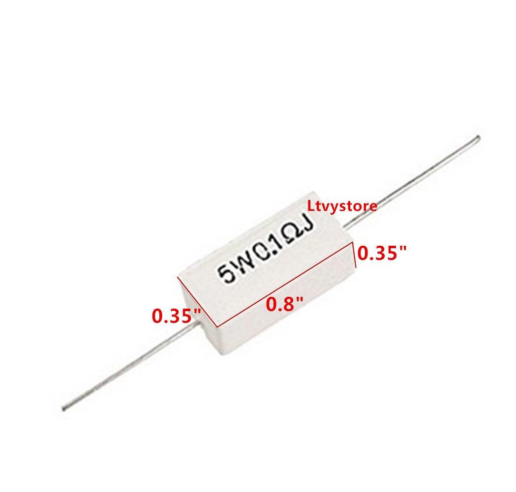 Cement Resistor Ltvystore 50Packs 5W Watt 0.1 Ohm 5/% Ceramic Cement Power Resistors Through Hole White