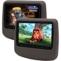 Eincar Two Gray 9 Inch Digital TFT LCD Screen Adjustable Car DVD CD Player Headrest Monitor with 32 Bits Wireless Games Touch Keys Remote Control Game Disc HDMI Input