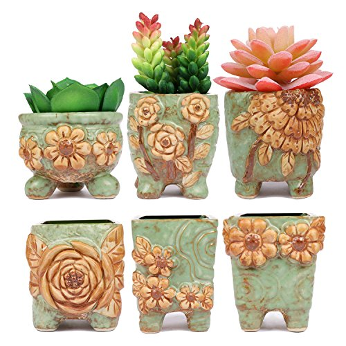 ROSE CREATE 6 Pcs 2.75 Inches Mini Ceramic Succulent Plant Pots Green
