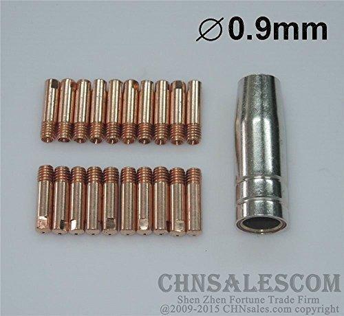 CHNsalescom 21 PCS MB-15AK MIG/MAG Welding Torch Contact Tip 0.9mm Gas Nozzle 145.0075