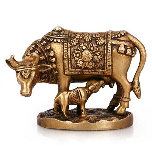 rine Brass Statue Handmade Sculpture Kamdhenu Cow Calf Baby Nandi Shower Gifts ()