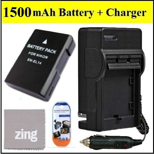 ENEL14 Battery And Charger Kit for Nikon D3100 D3200 D5100 D5200 COOLPIX P7100 P7700 Digital SLR Camera – Includes EN-EL14 Replacement Battery + AC/DC Charger + LCD Screen Protectors + Micro Fiber Cleaning Cloth, Best Gadgets