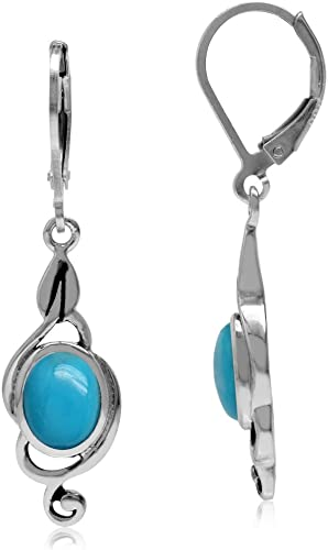 Turquoise And 925 Sterling Silver Lever Back Earrings