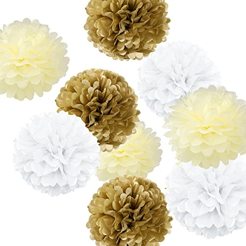 Paper Ball (Fonder Mols 9pcs Mixed Sizes 8'' 10'' 14'' White Ivory Tan Party Tissue Pom Poms Kit Paper Flowers Set Ball Weddings Birthday Bridal Baby Showers Nursery)