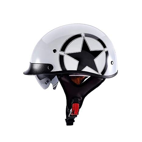 AH&Y Casco de Moto Medio Casco Certificación Dot Cruiser ...