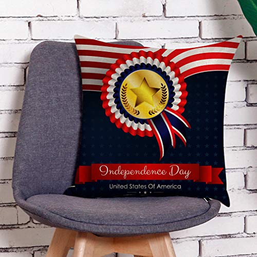 (HIKO23 Linen Blend Cushion Cover 4th of July American Flag Series Pillow Case Decorative Home Decor Square Throw Pillow Covers for Sofa Bedroom Car, 45cm x 45cm)