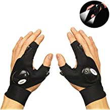 Coroler Cool Fingerless LED Flashlight Gloves for Repairing,Working in Darkness Places, Fishing, Camping, Hiking and Outdoor Activities (Left Hand)