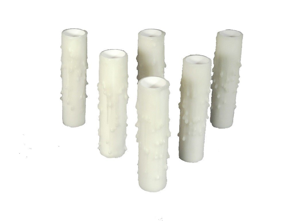 Set of 6 pc. 4'' Tall White Candelabra Base 3/4'' Inner Diameter Thin Base Beeswax Candle Covers, Socket Sleeves