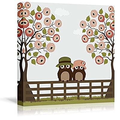 Canvas Prints Wall Art - Cute Owls with Tree Roses on a Fence - 12