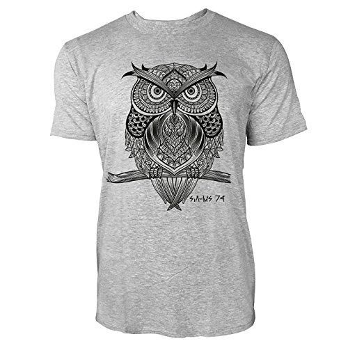 SINUS ART ® Eule auf Zweig im orientalischen Stil Herren T-Shirts in hellgrau Fun Shirt mit tollen Aufdruck