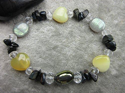 Champagne Quartz Bracelet - Genuine Yellow Opal, Champagne Aura Quartz, Labradorite and Obsidian Healing Bracelet