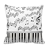EHSALEstore Piano Keys and Musical Notes 18x18 Inch Square Throw Pillowcase Decor Cushion Cover