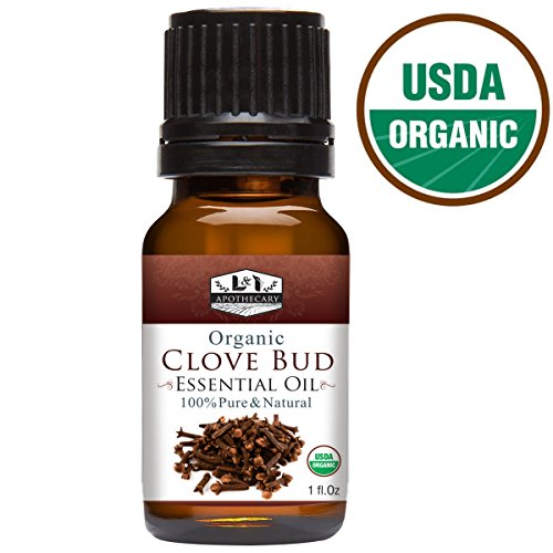 1 fl. Oz Clove Bud Essential Oil, USDA Certified Organic, 100% Pure, Natural, undiluted Therapeutic Grade, Refreshing scent, Excellent for Aromatherapy