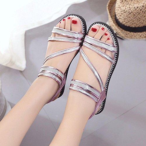 Transer Ladies Gladiator Flat Sandals- Women Summer Roman Sandals Comfortable Casual Shoes Purple 5PvGyHgcF