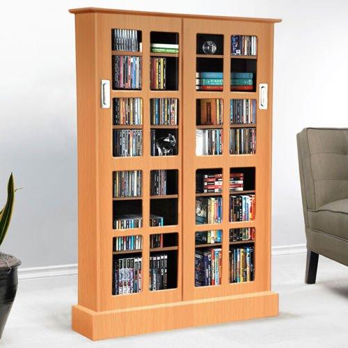 Tall Windowpane Maple Finish Bookcase/Media Storage Cabinet w/Sliding Glass Doors & Adjustable Shelves