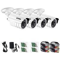 ZOSI 4 Pack 1/3 800TVL 960H HD Security Surveillance CCTV Camera Kit 24 Led Had IR Cut Day Night 3.6mm Lens Outdoor Weatherproof