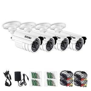 "ZOSI 4 Pack 1/3"" 800TVL 960H HD Security Surveillance CCTV Camera Kit 24 Led Had IR Cut Day Night 3.6mm Lens Outdoor Weatherproof"