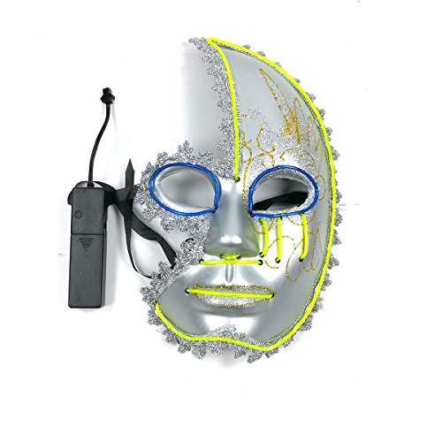 Men's Light Up Half Face Venetian Sparkle EL Wire Mask for Festival Parties Halloween Birthday Nightlife