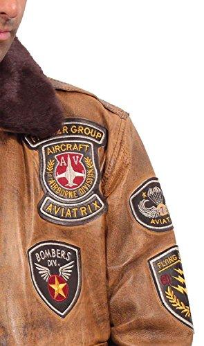 Aviatrix Herren Jungen Bomber Jacke Bugatti Piloten Flieger Antik Coniac Leder Air Force