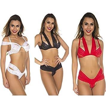 d564776ad Kit 03 Conjunto Sensual Renda Chick Pimenta Sexy  Amazon.com.br  hpc
