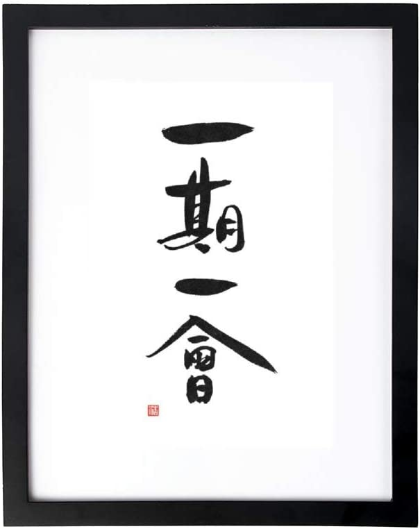 "VinMea Framed Canvas Wall Art,Framed Wall Art Decor,Japanese Tea Ceremony Kanji Saying Ichigo Ichie,Wall Artwork for Home and Office Decoration,Bedroom&Living Room Decoration,8""X12"""