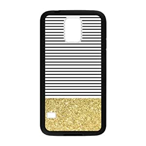Canting_Good Simple Stripes Small Shiny Gold Custom Case Cover Shell for Samsung Galaxy S5 (Laser Technology)