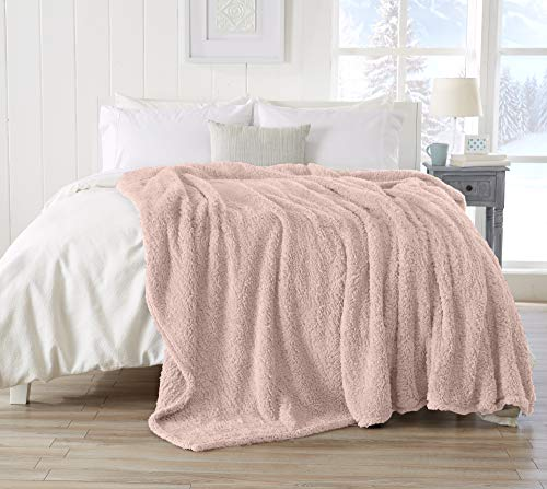 Great Bay Home Ultra Soft, Fuzzy Sherpa Stretch Knitted Bed Blanket. Lightweight and Cozy, Elegant, Chic Fleece Blanket for Sleeping. (King, Blush Pink)