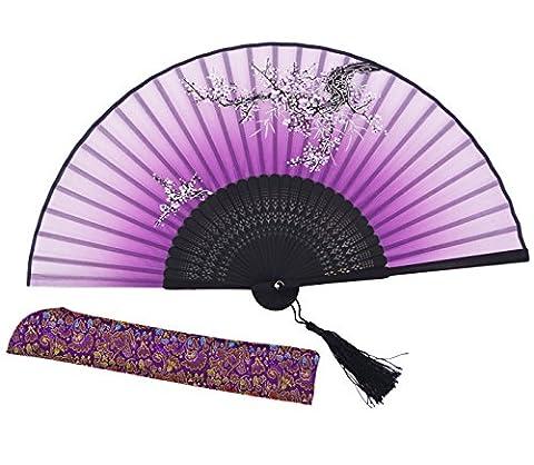 Meifan Chinese /Japanses Classical Handmade Vintage Folding Bamboo Silk Flower Pattern Hand Fan MFX (Purple)
