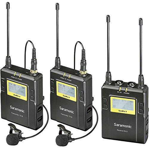 Saramonic UwMIC9 96-Channel Digital UHF Wireless Dual Lavalier Microphone System, Includes 2x TX9 Bodypack Transmitter and RX9 Portable Receiver (Channel Uhf Wireless Lavalier Microphone)