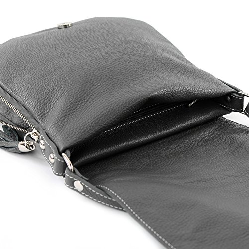 cuir T06 en modamoda à Messenger bandoulière de Ital Sac Dunkelgrau BPwP8xU0q