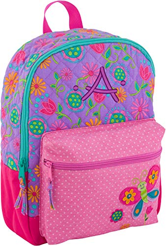 Monogrammed Initials - Monogrammed Me All Over Print Quilted Rucksack, Purple Butterfly, with Embroidered Kids Monogram A