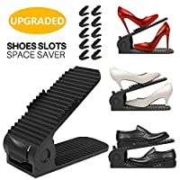 Shoe Slots Organizer, 4-Levels Adjustable Shoe Organizer, Space Saver for Closet, Better Stability Shoe Organizer with More Stable Base, 10 Piece Set