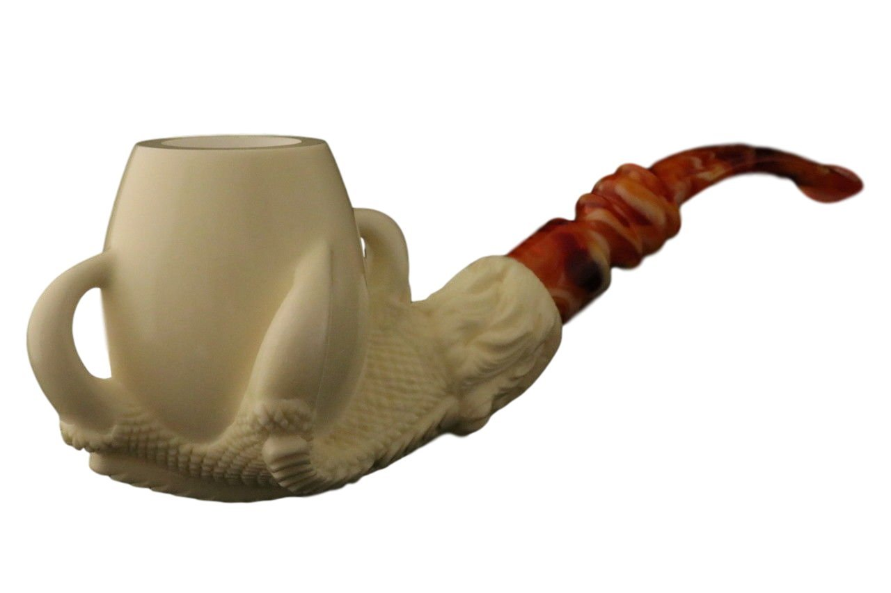 Meerschaum Pipe - Eagle's Claw from Master Carver Emin - New - Tobacco Smoking Pipe Hand Made from the Finest Block Meerschaum - New