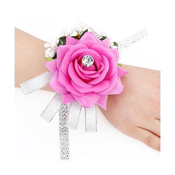 FAYBOX-Flannel-Open-Rose-Silvery-Bling-Ribbon-Rhinestone-Stretch-Bracelet-Wedding-Prom-Wrist-Corsage-Hand-Flower