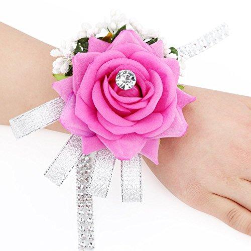 FAYBOX Velvet Open Rose Silvery Bling Ribbon Rhinestone Stretch Bracelet Wedding Prom Wrist Corsage Hand Flower Pack of 2 Fuchsia