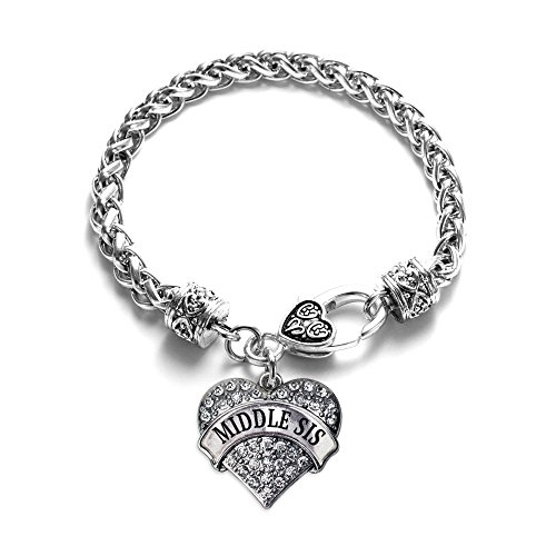 Acrylic Silver Bracelet - Inspired Silver - Middle Sis Braided Bracelet for Women - Silver Pave Heart Charm Bracelet with Cubic Zirconia Jewelry