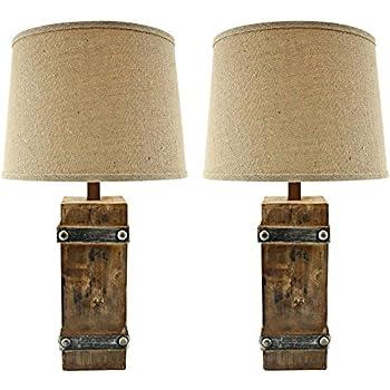 Brockton Ii Distressed Brown Wood Table Lamp Set Of 2 Amazon Com